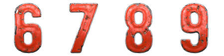 Set of numbers 6, 7, 8, 9 made of red painted metal isolated on white background. 3d rendering