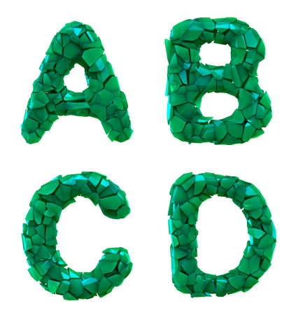 Plastic letters set A, B, C, D made of 3d render plastic shards green color. Collection of plastic alphabet isolated on white.