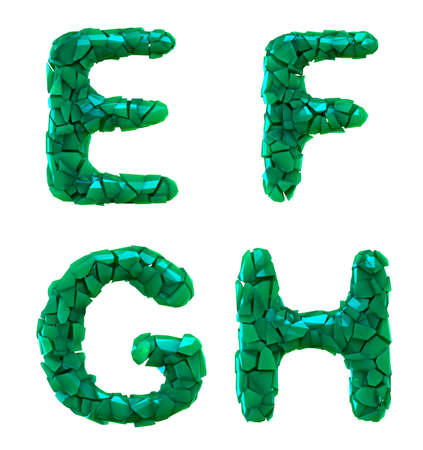 Plastic letters set E, F, G, H made of 3d render plastic shards green color. Collection of plastic alphabet isolated on white.