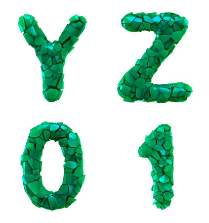 Plastic letters set Y, Z, 0, 1 made of 3d render plastic shards green color. Collection of plastic alphabet isolated on white.