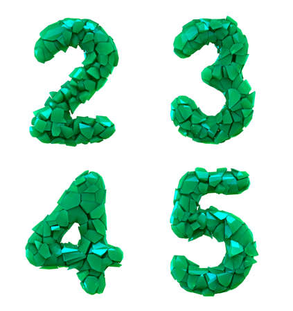 Number plastic set 2, 3, 4, 5 made of 3d render plastic shards green color. Collection of plastic alphabet isolated on white.