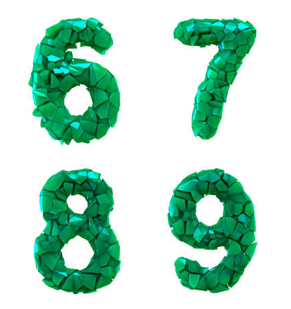 Number plastic set 6, 7, 8, 9 made of 3d render plastic shards green color. Collection of plastic alphabet isolated on white.