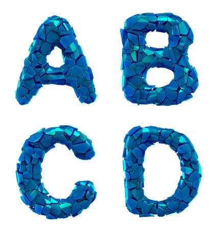 Plastic letters set A, B, C, D made of 3d render plastic shards blue color. Collection of plastic alphabet isolated on white.