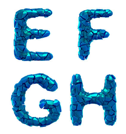 Plastic letters set E, F, G, H made of 3d render plastic shards blue color. Collection of plastic alphabet isolated on white.