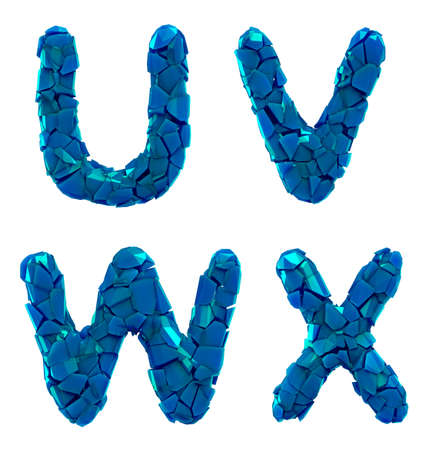Plastic letters set U, V, W, X made of 3d render plastic shards blue color. Collection of plastic alphabet isolated on white. Stockfoto