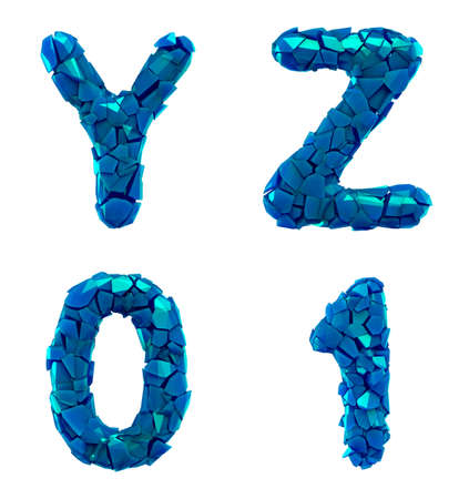 Plastic letters set Y, Z, 0, 1 made of 3d render plastic shards blue color. Collection of plastic alphabet isolated on white.