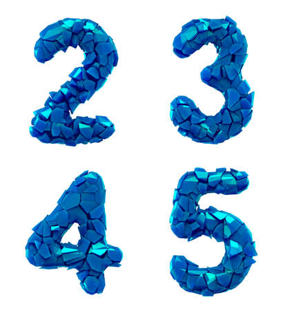 Number plastic set 2, 3, 4, 5 made of 3d render plastic shards blue color. Collection of plastic alphabet isolated on white.