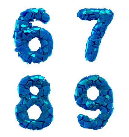 Number plastic set 6, 7, 8, 9 made of 3d render plastic shards blue color. Collection of plastic alphabet isolated on white.