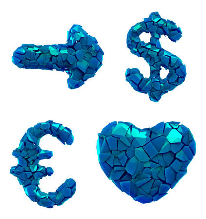 Symbol plastic set arrow, dollar, euro, heart made of 3d render plastic shards blue color. Collection of plastic alphabet isolated on white. Stockfoto