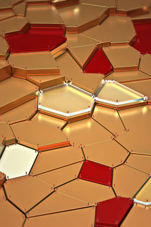 broken golden glass with sharp pieces over background 3d rendering Stockfoto