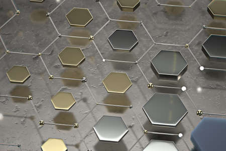 Abstract technological hexagonal background. 3d rendering Stockfoto - 161207380