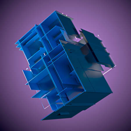 Cube made of blue plates on a purple background. 3d. Innovative impressive technologies Stockfoto
