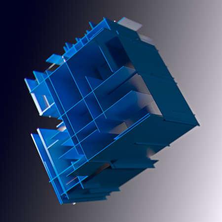 Cube made of blue plates on a gray background. 3d. Innovative impressive technologies