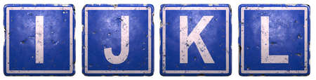 Set of public road sign in blue color with a capital white letters I, J, K, L in the center isolated of white background. 3d rendering