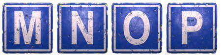 Set of public road sign in blue color with a capital white letters M, N, O, P in the center isolated of white background. 3d rendering
