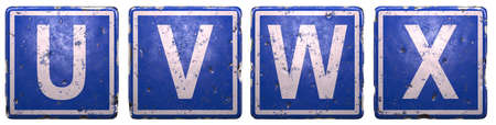 Set of public road sign in blue color with a capital white letters U, V, W, X in the center isolated of white background. 3d rendering Stockfoto