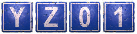 Set of public road sign in blue color with a capital white letters Y, Z and number 0, 1 in the center isolated of white background. 3d rendering