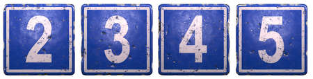Set of public road sign in blue color with a white numbers 2, 3, 4, 5 in the center isolated white background. 3d rendering