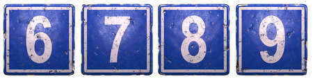Set of public road sign in blue color with a white numbers 6, 7, 8, 9 in the center isolated white background. 3d rendering