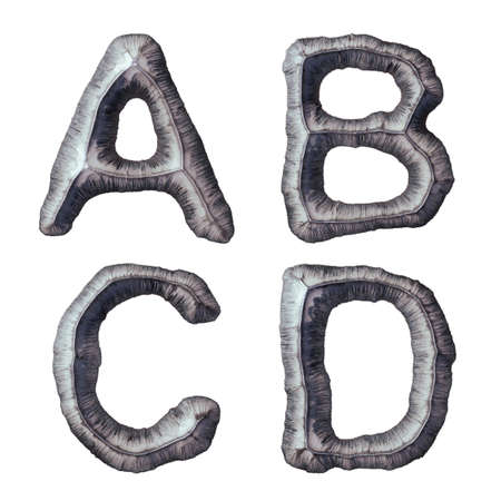 Set of capital letters A, B, C, D made of forged metal isolated on white background. 3d rendering