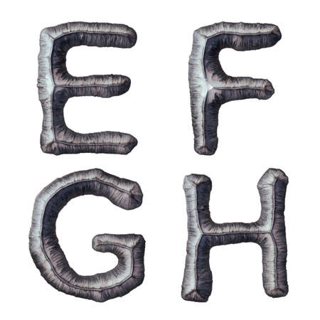 Set of capital letters E, F, G, H made of forged metal isolated on white background. 3d rendering