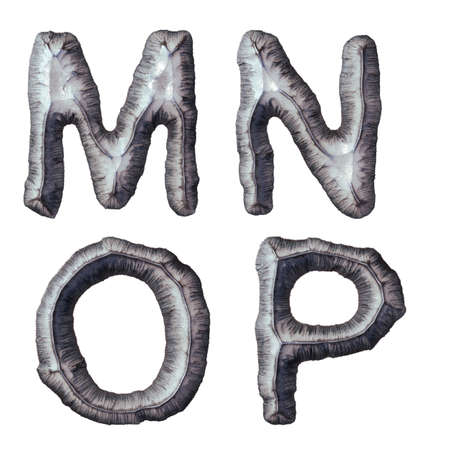 Set of capital letters M, N, O, P made of forged metal isolated on white background. 3d rendering