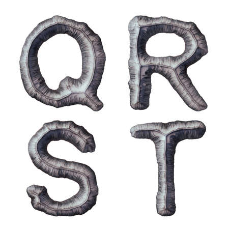 Set of capital letters Q, R, S, T made of forged metal isolated on white background. 3d rendering