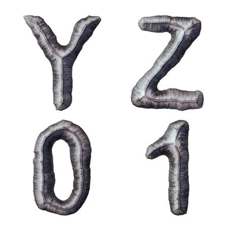 Set of capital letters Y, Z and number 0, 1 made of forged metal isolated on white background. 3d rendering