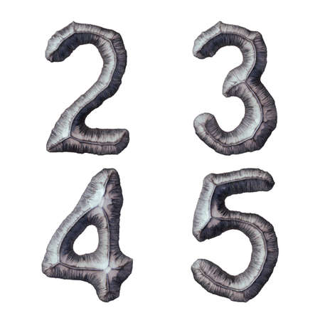 Set of numbers 2, 3, 4, 5 made of forged metal isolated on white background. 3d rendering
