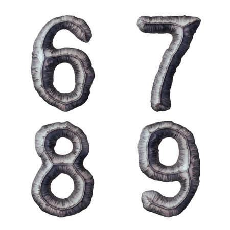 Set of numbers 6, 7, 8, 9 made of forged metal isolated on white background. 3d rendering