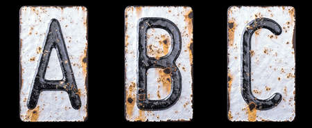 3D render set of capital letters A, B, C made of forged metal on the background fragment of a metal surface with cracked rust. 3d rendering