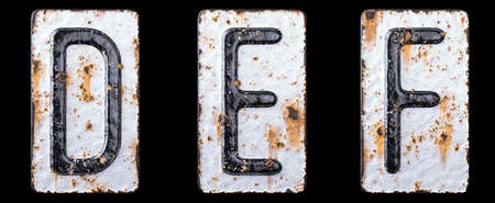 3D render set of capital letters D, E, F made of forged metal on the background fragment of a metal surface with cracked rust. 3d rendering