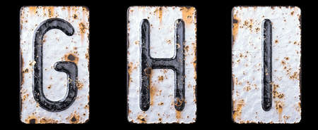 3D render set of capital letters G, H, I made of forged metal on the background fragment of a metal surface with cracked rust. 3d rendering