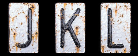 3D render set of capital letters J, K, L made of forged metal on the background fragment of a metal surface with cracked rust. 3d rendering
