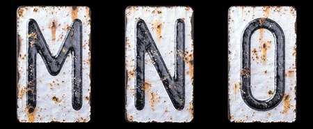 3D render set of capital letters M, N, O made of forged metal on the background fragment of a metal surface with cracked rust. 3d rendering