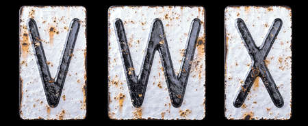 3D render set of capital letters V, W, X made of forged metal on the background fragment of a metal surface with cracked rust. 3d rendering