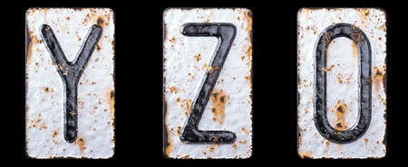 3D render set of capital letters Y, Z and number 0 made of forged metal on the background fragment of a metal surface with cracked rust. 3d rendering