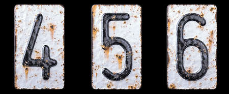 3D render set of numbers 4, 5, 6 made of forged metal on the background fragment of a metal surface with cracked rust. 3d rendering Stockfoto