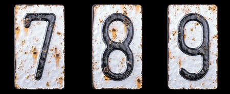 3D render set of numbers 7, 8, 9 made of forged metal on the background fragment of a metal surface with cracked rust. 3d rendering Stockfoto
