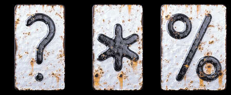 Set of symbols question mark, asterisk, percent made of forged metal on the background fragment of a metal surface with cracked rust. 3d rendering