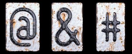 3D render set of symbols at, ampersand and hash made of forged metal on the background fragment of a metal surface with cracked rust. 3d rendering