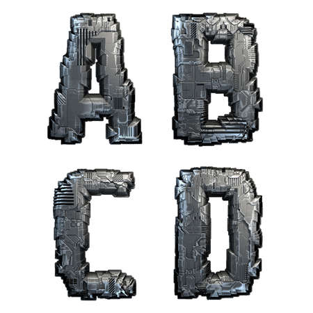Set of capital letters A, B, C, D made of metal isolated on white background. 3d rendering