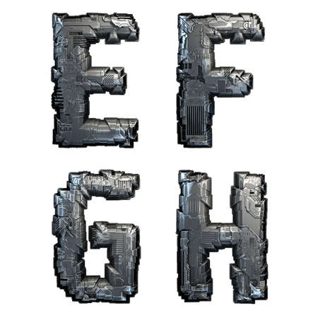Set of capital letters E, F, G, H made of metal isolated on white background. 3d rendering