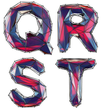Realistic 3D letters set Q, R, S, T made of low poly style. Collection symbols of low poly style red color glass isolated on white background 3d rendering