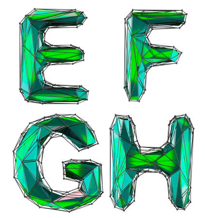 Realistic 3D set of letters E, F, G, H made of low poly style. Collection symbols of low poly style green color glass isolated on white background 3d rendering Stockfoto