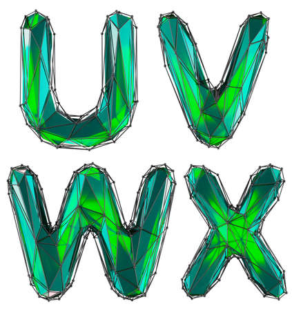 Realistic 3D set of letters U, V, W, X made of low poly style. Collection symbols of low poly style green color glass isolated on white background 3d rendering Stockfoto