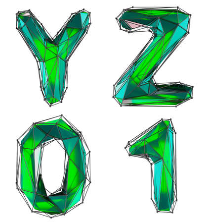 Realistic 3D set of letters Y, Z, 0, 1 made of low poly style. Collection symbols of low poly style green color glass isolated on white background 3d rendering