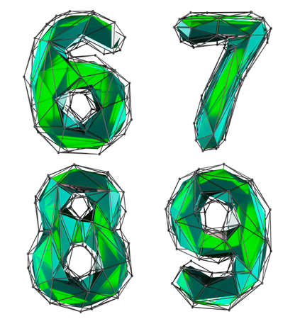 Set of numbers 6, 7, 8, 9 made of red color glass. Collection symbols of low poly style green color glass isolated on white background 3d rendering Stockfoto