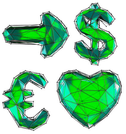 Symbol collection arrow, dollar, euro, heart made of green glass. Collection symbols of low poly style red color glass isolated on white background 3d rendering