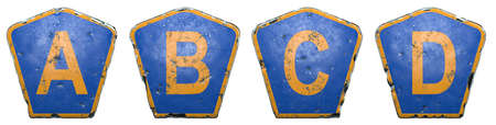 Set of public road signs in blue and orange color with a capital letters A, B, C, D in the center isolated white background. 3d rendering